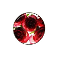 Pink And Red Roses On White Golf Ball Marker (for Hat Clip)