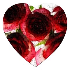 Pink and Red Roses on White Jigsaw Puzzle (Heart)