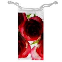 Pink and Red Roses on White Jewelry Bag