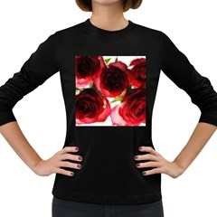 Pink and Red Roses on White Women s Long Sleeve T-shirt (Dark Colored)