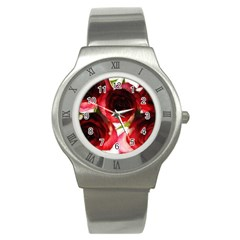 Pink And Red Roses On White Stainless Steel Watch (slim)