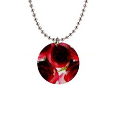 Pink And Red Roses On White Button Necklace