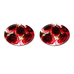 Pink and Red Roses on White Cufflinks (Oval)
