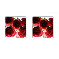 Pink and Red Roses on White Cufflinks (Square)