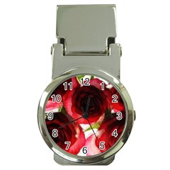 Pink And Red Roses On White Money Clip With Watch