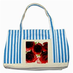 Pink And Red Roses On White Blue Striped Tote Bag