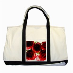 Pink and Red Roses on White Two Toned Tote Bag