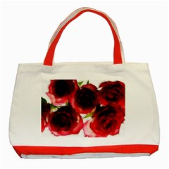 Pink and Red Roses on White Classic Tote Bag (Red)