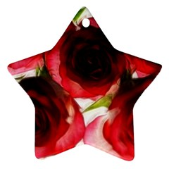 Pink and Red Roses on White Star Ornament (Two Sides)