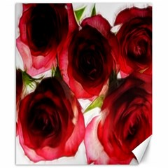 Pink and Red Roses on White Canvas 8  x 10  (Unframed)
