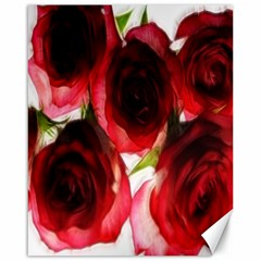 Pink and Red Roses on White Canvas 16  x 20  (Unframed)