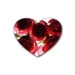 Pink And Red Roses On White Drink Coasters (heart)
