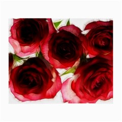 Pink And Red Roses On White Glasses Cloth (small, Two Sided)