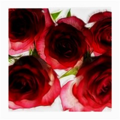 Pink And Red Roses On White Glasses Cloth (medium)