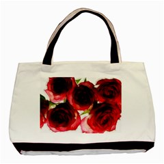 Pink and Red Roses on White Twin-sided Black Tote Bag