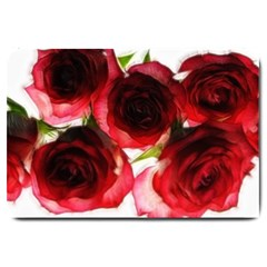 Pink and Red Roses on White Large Door Mat