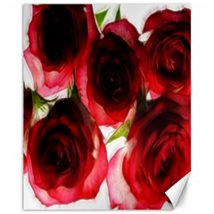 Pink and Red Roses on White Canvas 11  x 14  (Unframed)