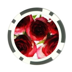 Pink And Red Roses On White Poker Chip