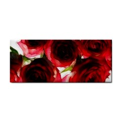 Pink and Red Roses on White Hand Towel