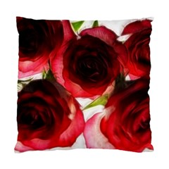 Pink And Red Roses On White Cushion Case (two Sided)