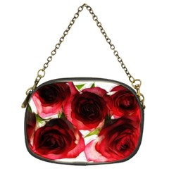 Pink And Red Roses On White Chain Purse (two Sided)
