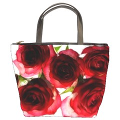 Pink And Red Roses On White Bucket Handbag
