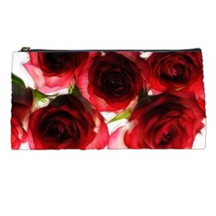Pink and Red Roses on White Pencil Case