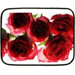 Pink and Red Roses on White Mini Fleece Blanket (Two Sided)