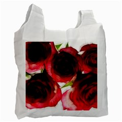 Pink And Red Roses On White White Reusable Bag (one Side)