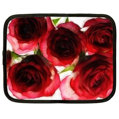 Pink And Red Roses On White Netbook Sleeve (xl)
