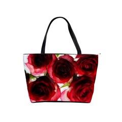 Pink And Red Roses On White Large Shoulder Bag