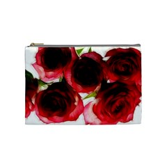 Pink And Red Roses On White Cosmetic Bag (medium)