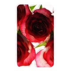 Pink And Red Roses On White Memory Card Reader (rectangular)