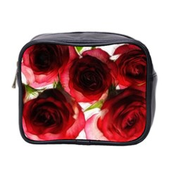 Pink And Red Roses On White Mini Travel Toiletry Bag (two Sides)