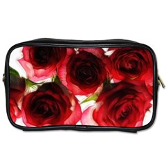 Pink And Red Roses On White Travel Toiletry Bag (two Sides)