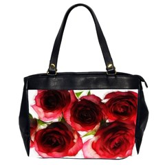 Pink and Red Roses on White Oversize Office Handbag (Two Sides)