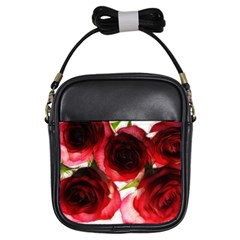 Pink And Red Roses On White Girl s Sling Bag