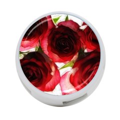 Pink And Red Roses On White 4 Port Usb Hub (two Sides)