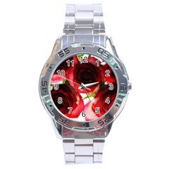 Pink and Red Roses on White Stainless Steel Watch