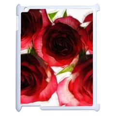 Pink and Red Roses on White Apple iPad 2 Case (White)
