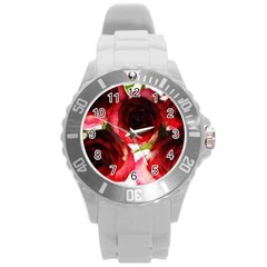 Pink and Red Roses on White Plastic Sport Watch (Large)