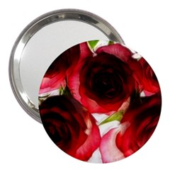 Pink and Red Roses on White 3  Handbag Mirror