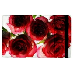 Pink and Red Roses on White Apple iPad 3/4 Flip Case