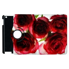Pink And Red Roses On White Apple Ipad 3/4 Flip 360 Case