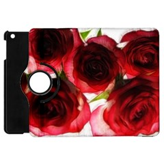 Pink And Red Roses On White Apple Ipad Mini Flip 360 Case
