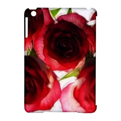 Pink and Red Roses on White Apple iPad Mini Hardshell Case (Compatible with Smart Cover)