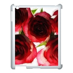 Pink and Red Roses on White Apple iPad 3/4 Case (White)