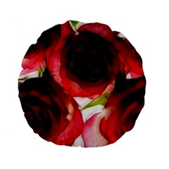 Pink And Red Roses On White 15  Premium Round Cushion