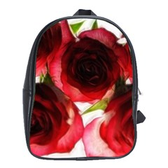 Pink And Red Roses On White School Bag (xl)