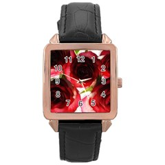 Pink and Red Roses on White Rose Gold Leather Watch